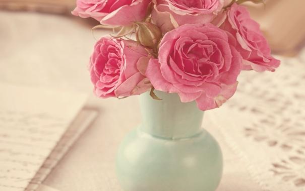 Фото обои розы, букет, ваза, vintage, flower, style, pink