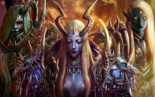 Фото обои украшения, девушки, монстр, доспехи, демон, арт, капюшон