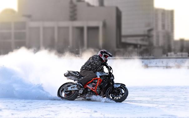 Фото обои зима, поворот, мотоцикл, шлем, байкер, байк, honda