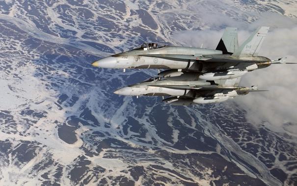 Фото обои истребители, пара, F/A-18, Hornet, McDonnell Douglas