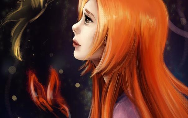 Фото обои девушка, бабочка, арт, профиль, рыжая