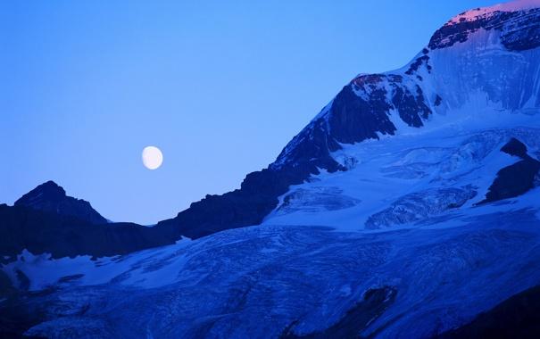Фото обои горы, ночь, обои, луна, красиво, wallpapers