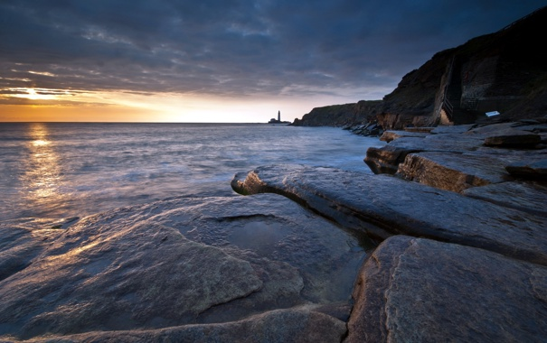 Фото обои море, пейзаж, ночь, скалы, маяк
