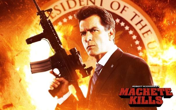 Фото обои автомат, machete kills, мачете убивает, Чарли шин, charlie sheen