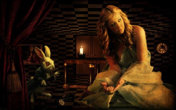 Фото обои часы, кролик, Алиса в стране чудес