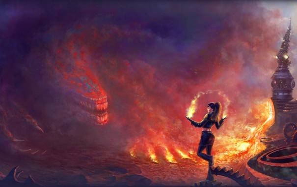 Фото обои огонь, дым, башня, Девушка, монстр, когти, шестерни