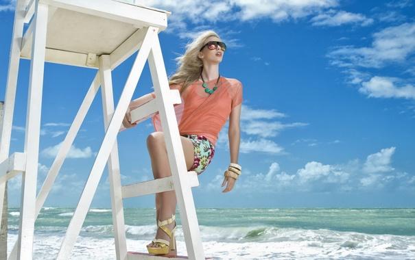 Фото обои море, лето, небо, девушка, настроение, Clara Pierrotti