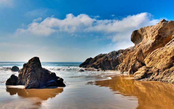 Фото обои Malibu, скалы, море, California