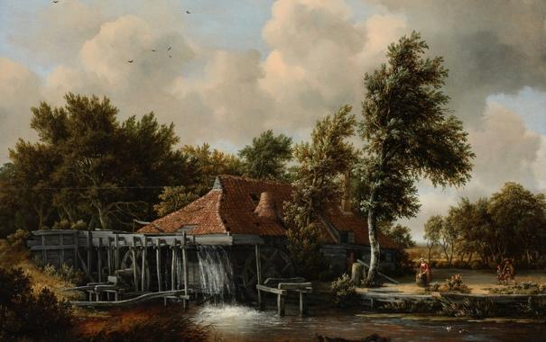 Фото обои небо, деревья, пейзаж, дом, река, картина, мельница