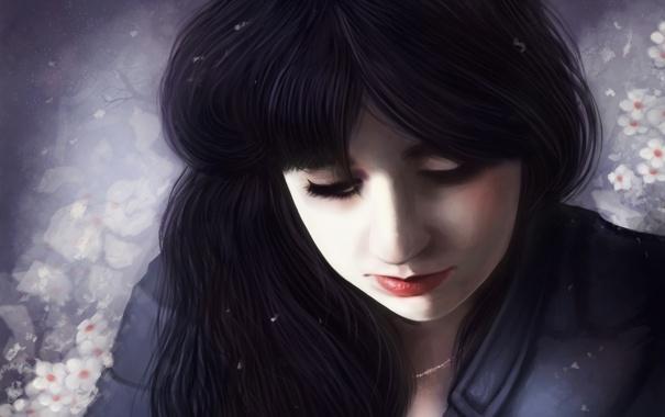 Фото обои девушка, снег, цветы, лицо, фон, волосы, арт