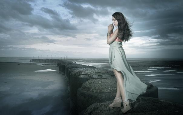 Фото обои море, девушка, азиатка