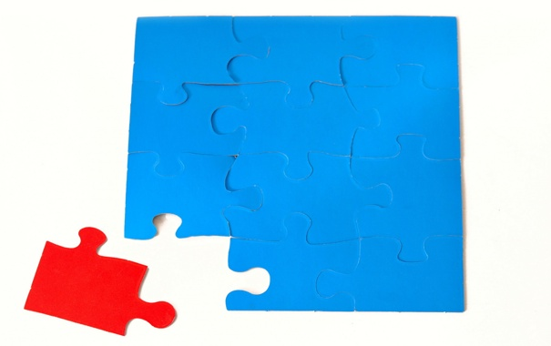 Фото обои blue, doubt, puzzle, pieces, red