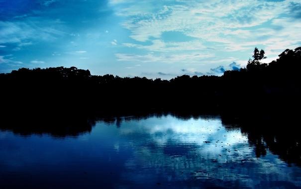 Фото обои море, небо, деревья, пейзаж, природа, отражение, река