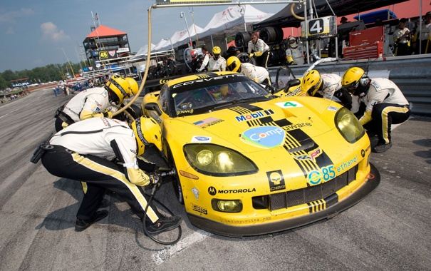 Фото обои Corvette, Chevrolet, на пит стопе