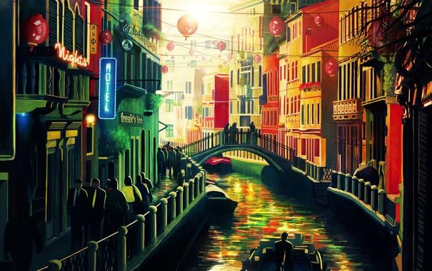 Фото обои мост, город, люди, дома, картина, канал