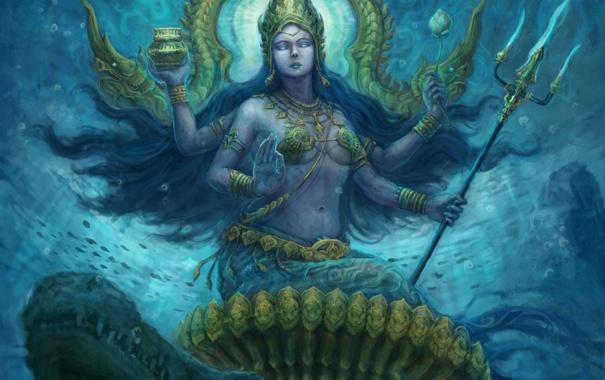 Фото обои вода, фантастика, арт, божество, богиня, fantasy indian, Трезубец