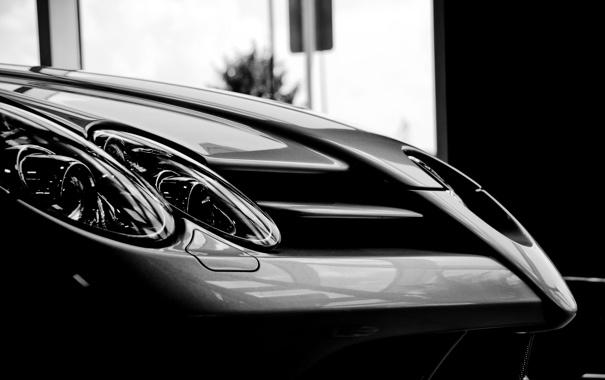 Фото обои серый, черно-белый, темный, McLaren, суперкар, mercedes, мерседес