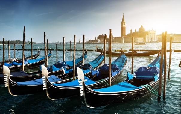 Фото обои море, остров, пристань, лодки, Италия, Венеция, Italy