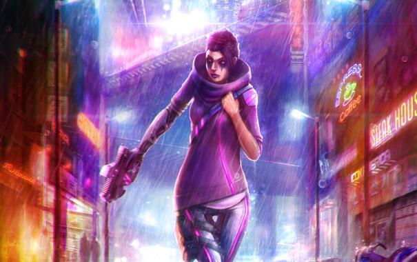 Фото обои девушка, город, пистолет, дождь, улица, art, cyberpunk