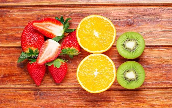 Фото обои апельсин, киви, клубника, ягода