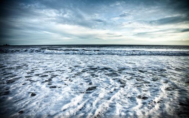 Фото обои море, волны, небо, пена, горизонт