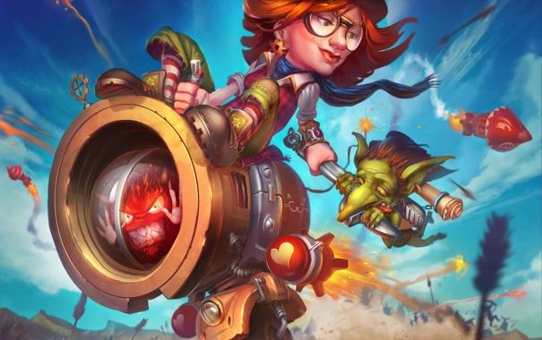 Фото обои девушка, механизм, курица, существо, ракеты, арт, стрелы