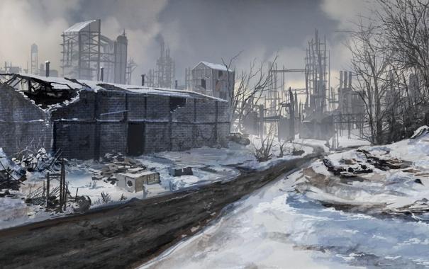 Фото обои зима, дорога, снег, фантастика, здания, арт, руины