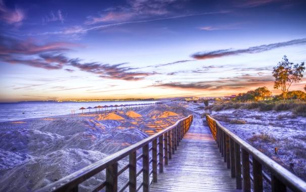 Фото обои море, свет, огни, океан, берег, пейзажи, вечер