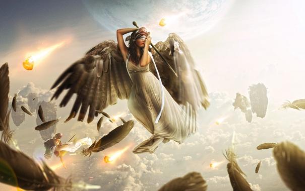 Фото обои небо, девушка, облака, планета, крылья, меч, перья