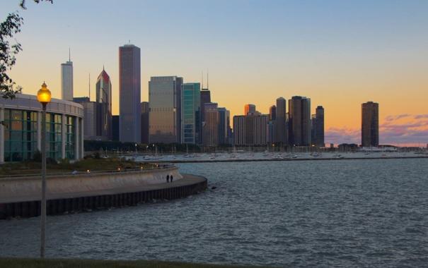 Фото обои город, небоскребы, вечер, Чикаго, Иллиноис, мичиган