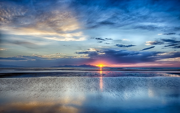 Фото обои Sunset, Utah, Grea Salt Lake