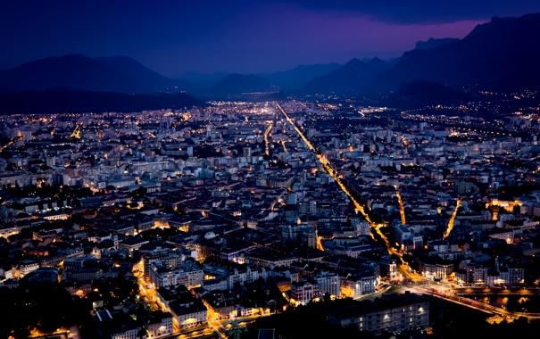 Фото обои небо, горы, ночь, city, город, lights, огни