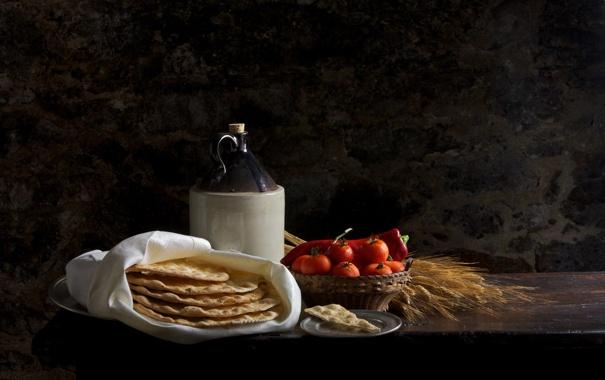 Фото обои бутылка, хлеб, колосья, натюрморт, помидоры