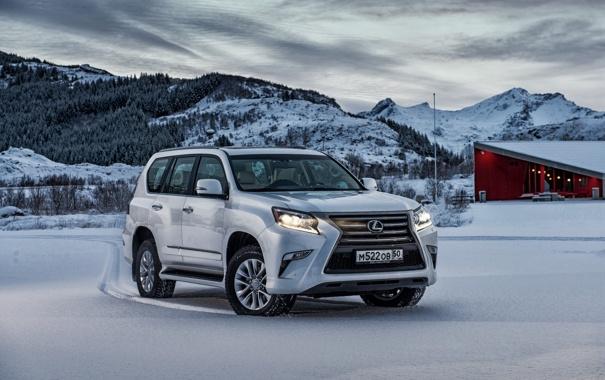 Фото обои зима, снег, Lexus, внедорожник, лексус
