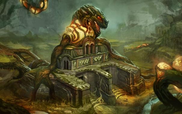 Фото обои лес, корни, заросли, монстр, арт, храм, страж