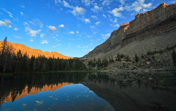 Фото обои небо, закат, горы, озеро, отражение, скалы