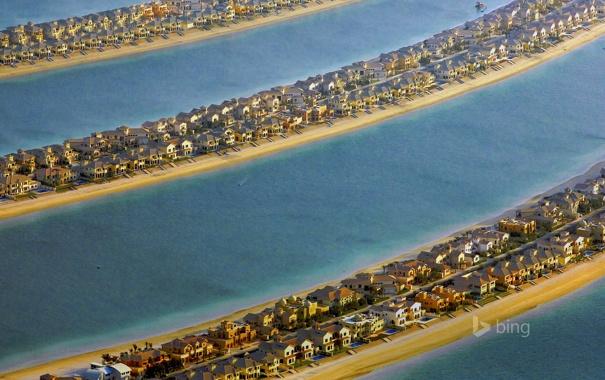 Фото обои море, вилла, остров, дома, коса, Дубай, ОАЭ