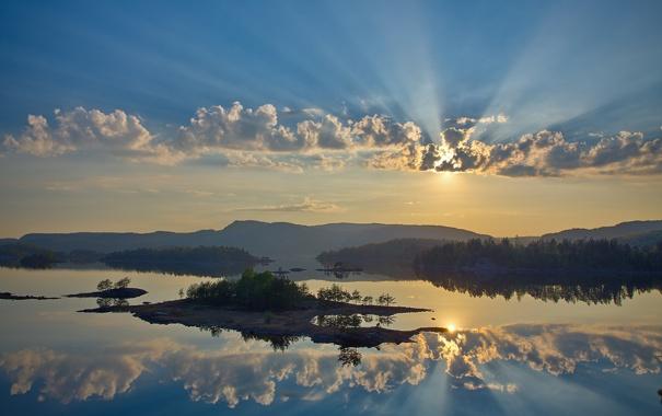 Фото обои небо, вода, облака, отражение