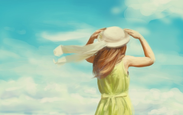 Фото обои лето, девушка, ленты, ветер, шляпа, арт, спиной