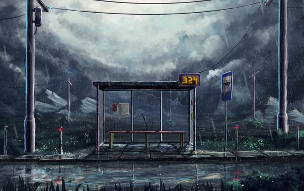 Фото обои дождь, остановка, ночь, дорога