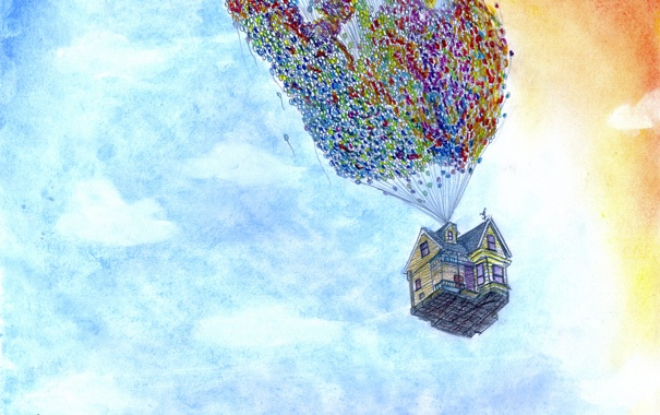 Фото обои дом, воздушные шары, карандаши, акварель, Вверх, Арт, Pixar