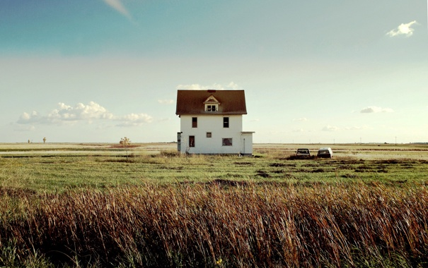 Фото обои windows, house, road, sky, field, clouds, Pickup
