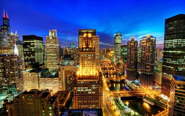 Фото обои ночь, огни, река, здания, дома, USA, США