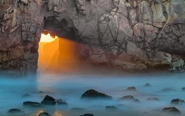 Фото обои море, скала, камни, арка