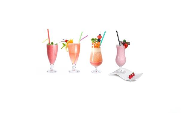 Фото обои ягоды, стаканы, напитки, коктейли, 2560х1600, трубочки