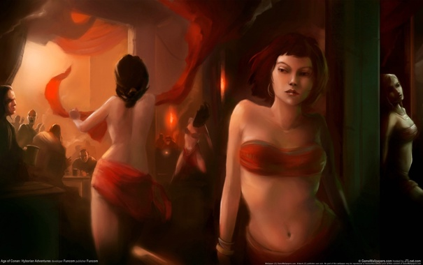 Фото обои девушки, бар, Age of Conan, колонна, танцовщицы, Hyborian Adventures