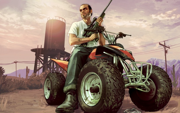 Фото обои gta 5, квадроцикл, мужик, снайперка, Grand Theft Auto V, тревор