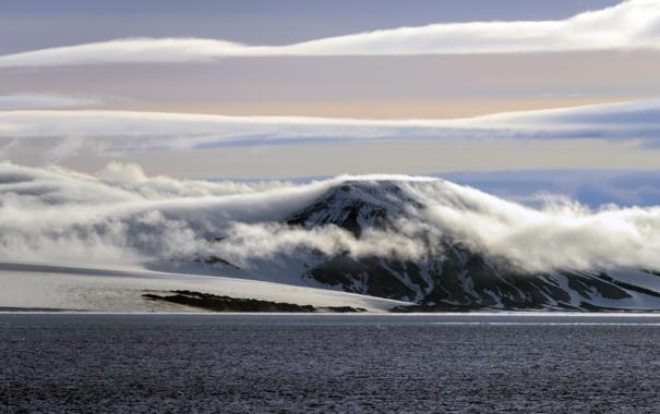 Фото обои море, небо, облака, снег, горы, берег, Земля Франца-Иосифа