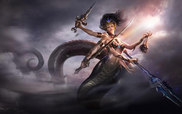 Фото обои небо, девушка, облака, оружие, змея, меч, голова