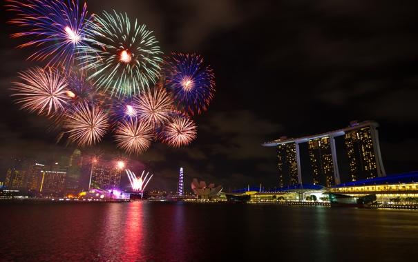 Фото обои ночь, огни, праздник, салют, Сингапур, фейерверк